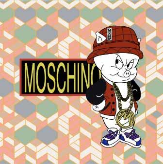 卡通动物小猪潮牌MOSCHINO印花矢量图服装裁片T恤烫图印花花型素材-POP花型网