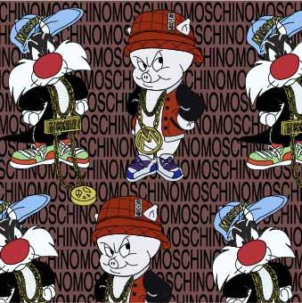 卡通动物小猪字母潮牌MOSCHINO印花矢量图服装纺织数码印花花型素材-POP花型网