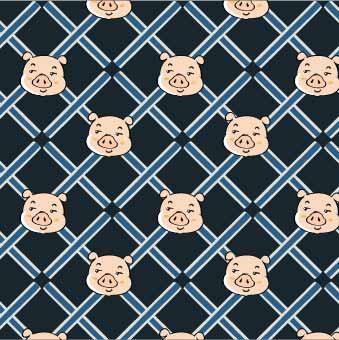 卡通动物小猪格子印花矢量图服装纺织数码印花花型素材-POP花型网
