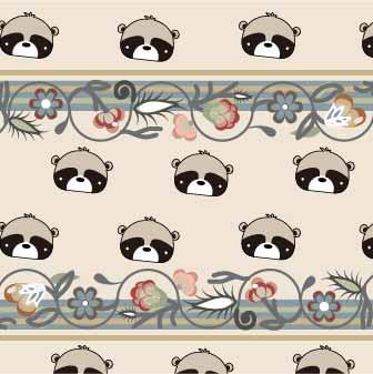 卡通动物小熊植物花纹印花矢量图服装纺织数码印花花型素材-POP花型网