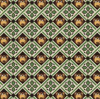 卡通动物小熊格子印花矢量图服装纺织数码印花花型素材-POP花型网