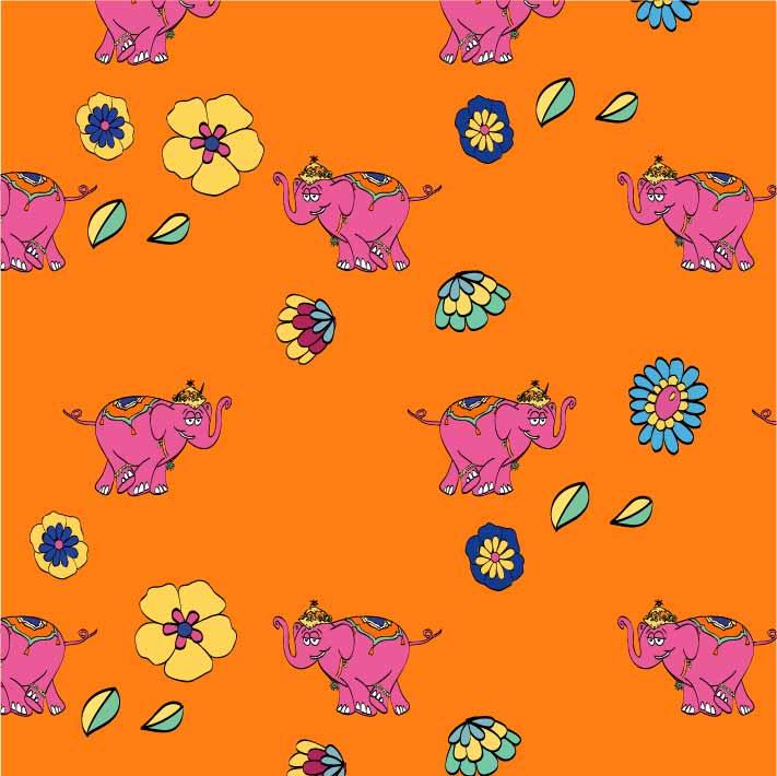 植物花朵卡通动物大象印花矢量图服装纺织数码印花花型素材-POP花型网