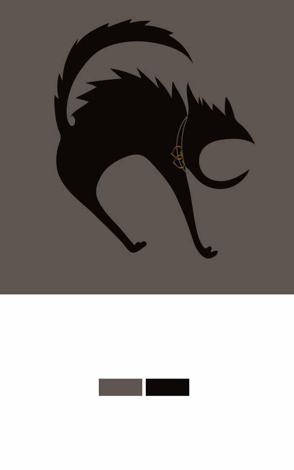 几何猫咪图案印花矢量图服装裁片T恤烫图印花花型素材-POP花型网
