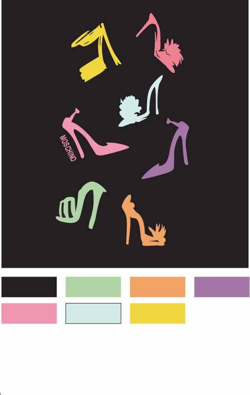 几何图案高跟鞋字母MOSCHINO印花矢量图服装裁片T恤烫图印花花型素材-POP花型网
