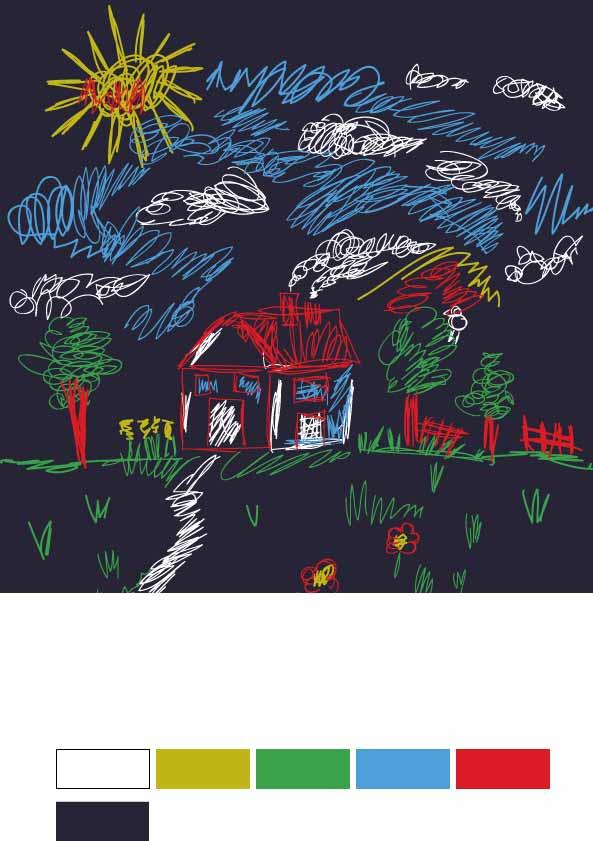 几何线条涂鸦房子太阳印花花型素材服装裁片T恤烫图印花花型素材-POP花型网