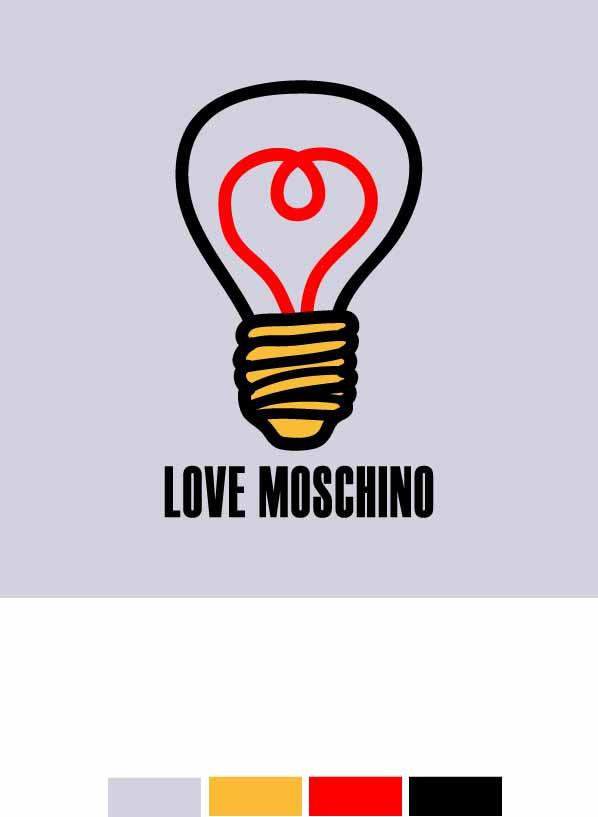 几何图案电灯字母潮牌MOSCHINO印花矢量图服装裁片T恤烫图印花花型素材-POP花型网