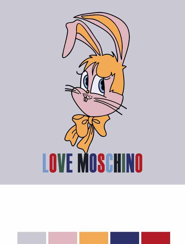 卡通动物兔子字母MOSCHINO印花矢量图服装裁片T恤烫图印花花型素材-POP花型网