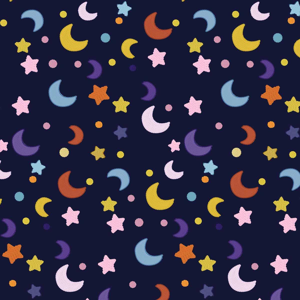 几何图案星星月亮印花矢量图服装纺织数码印花花型素材-POP花型网