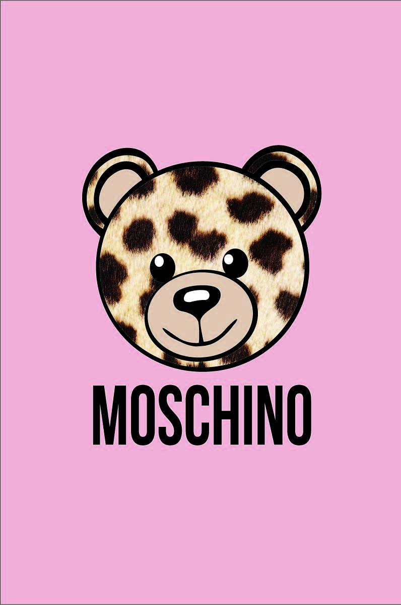 卡通熊豹纹潮牌字母MOSCHINO印花矢量图服装裁片T恤烫图印花花型素材-POP花型网