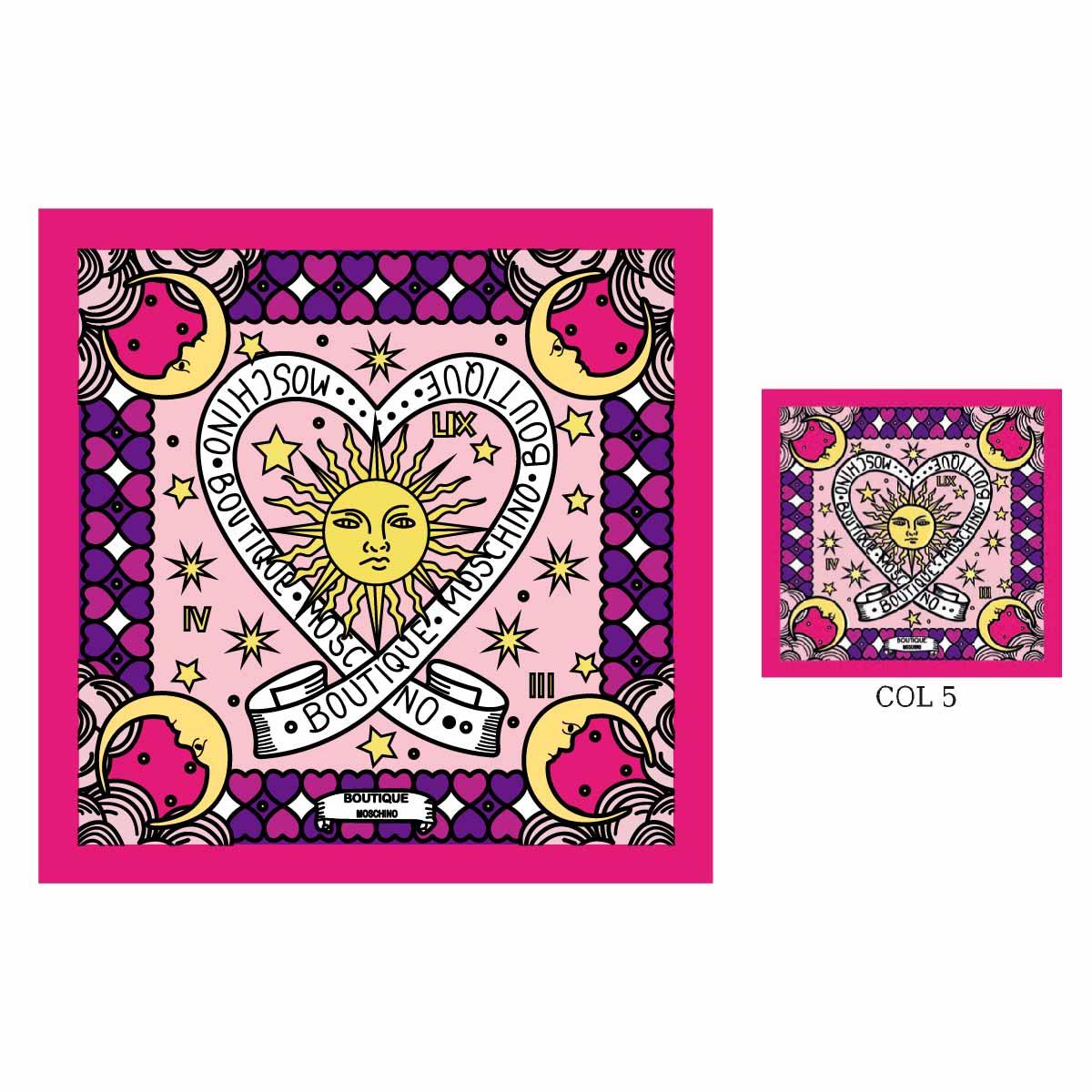几何图案太阳方巾印花矢量图服装裁片T恤烫图印花花型素材-POP花型网
