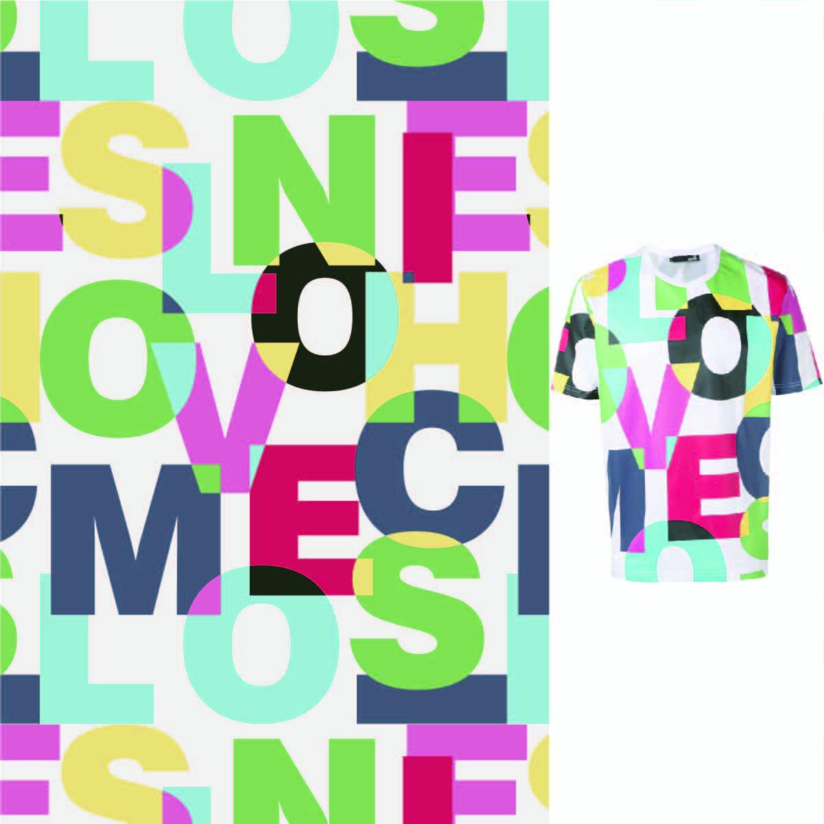 几何图案多彩字母拼接印花矢量图服装纺织数码印花花型素材-POP花型网