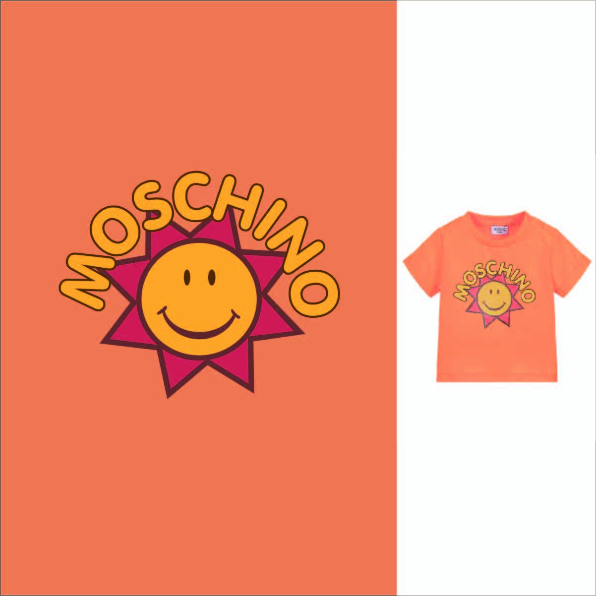 卡通图案太阳字母NOSCHINO潮牌印花矢量图服装裁片T恤烫图印花花型素材-POP花型网