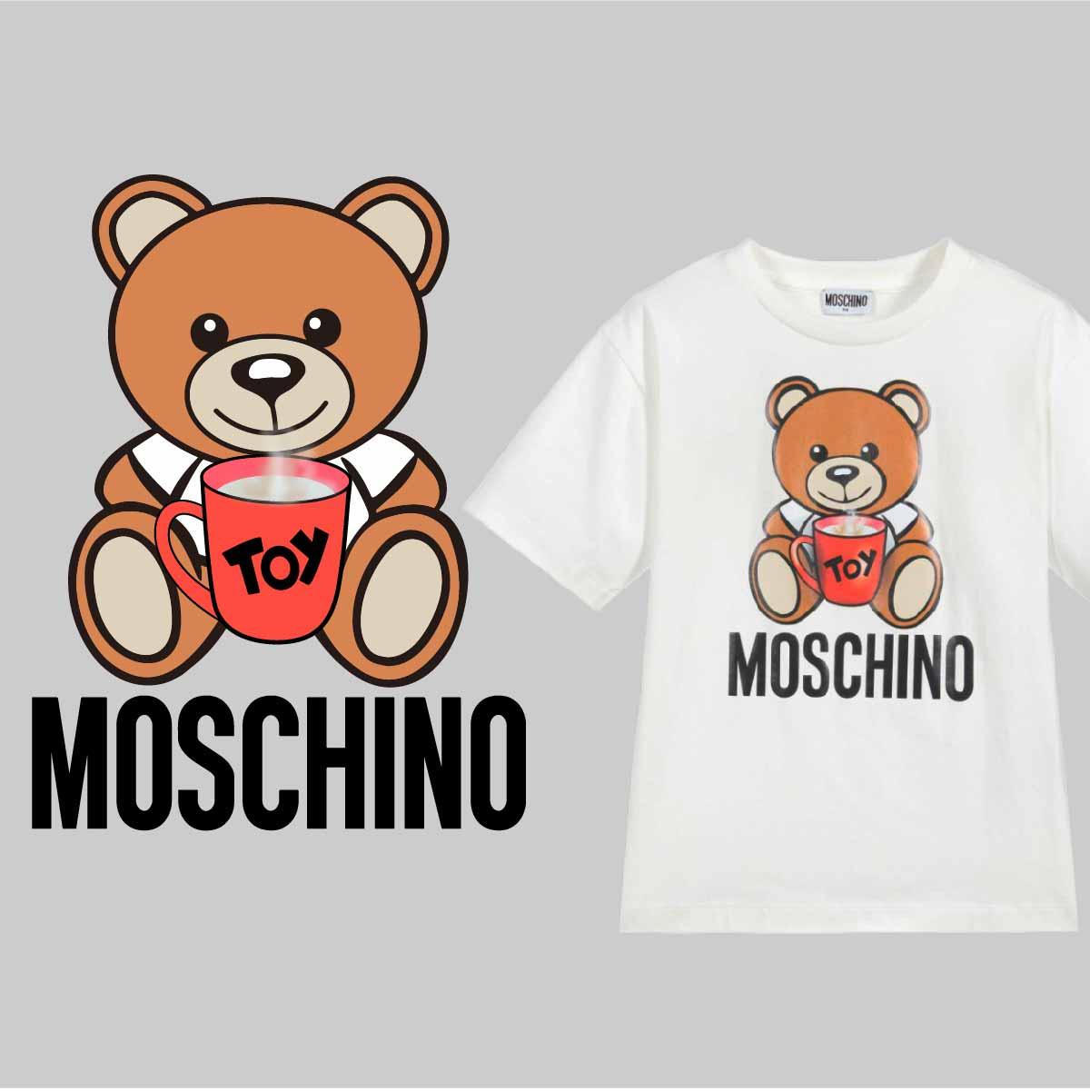 卡通熊潮牌字母MOSCHINO印花矢量图服装裁片T恤烫图印花花型素材-POP花型网