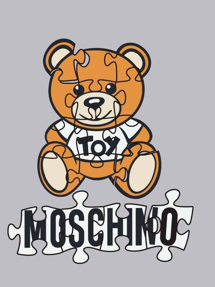 卡通熊拼图潮牌字母MOSCHINO印花矢量图服装裁片T恤烫图印花花型素材-POP花型网