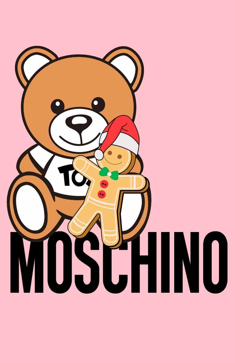 卡通熊玩具潮牌字母MOSCHINO印花矢量图服装裁片T恤烫图印花花型素材-POP花型网
