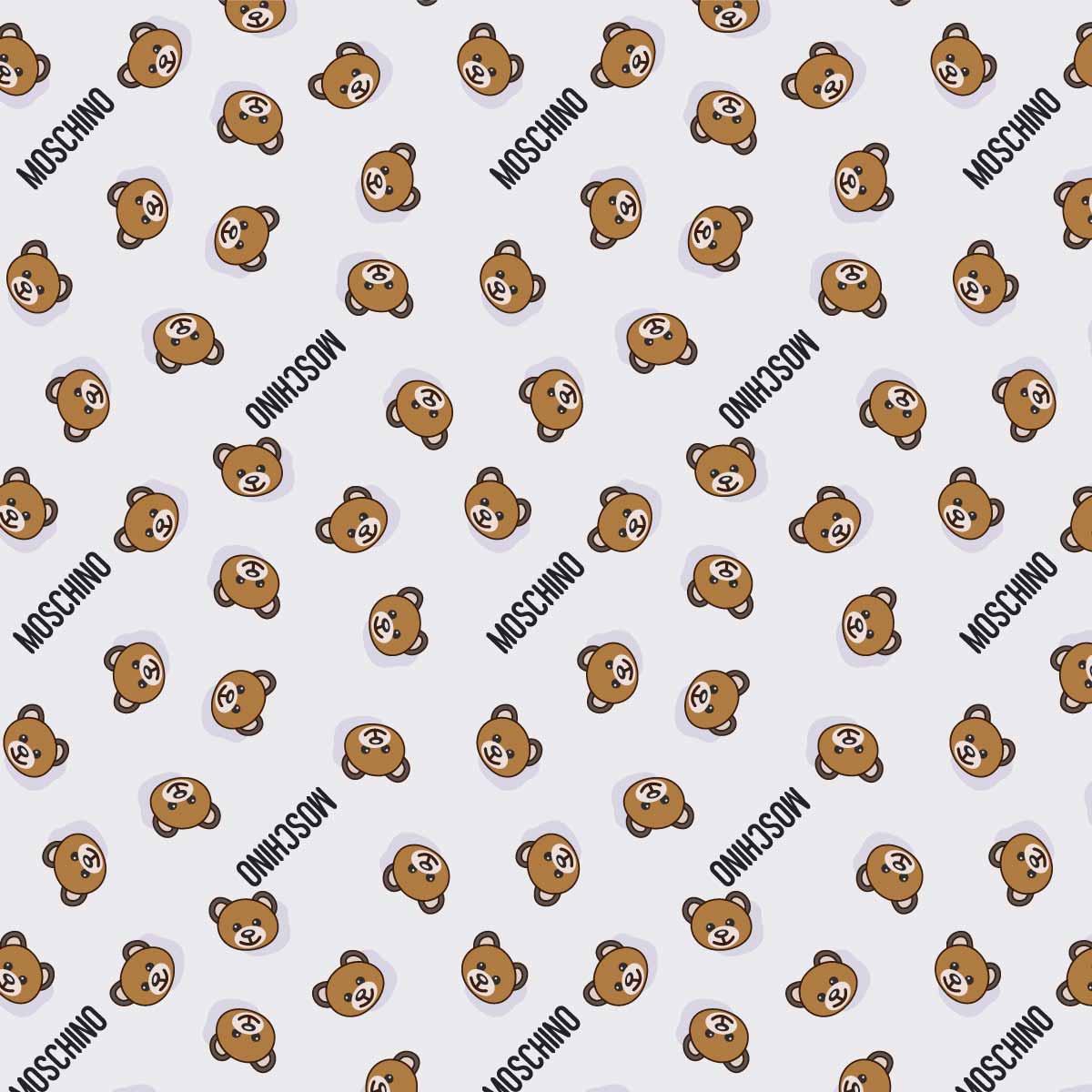 卡通熊几何字母MOSCHINO图案拼接印花矢量图服装纺织数码印花花型素材-POP花型网
