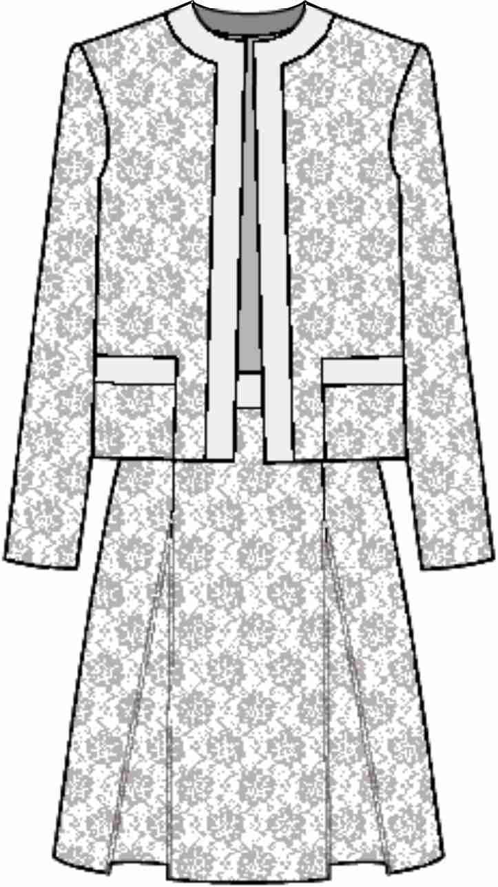 服装套装设计手稿矢量图-POP花型网