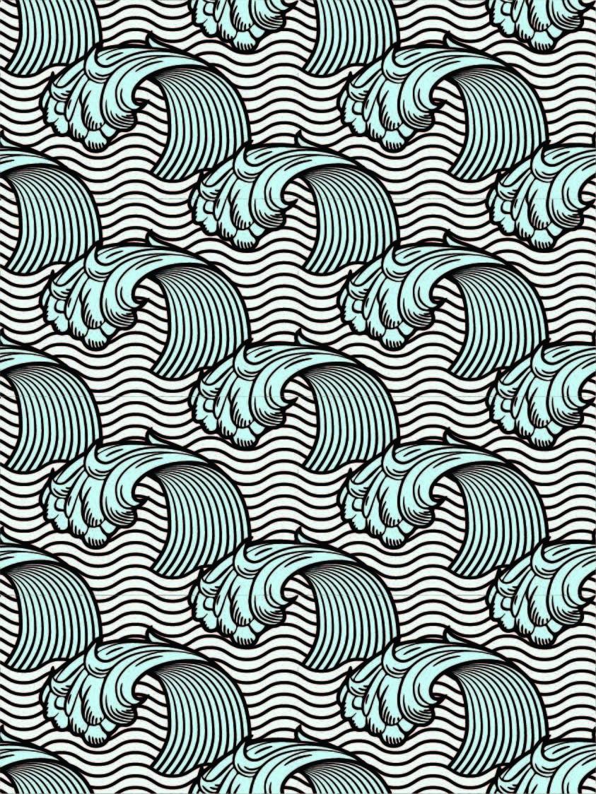 海浪图案印花矢量图服装纺织数码印花花型素材-POP花型网