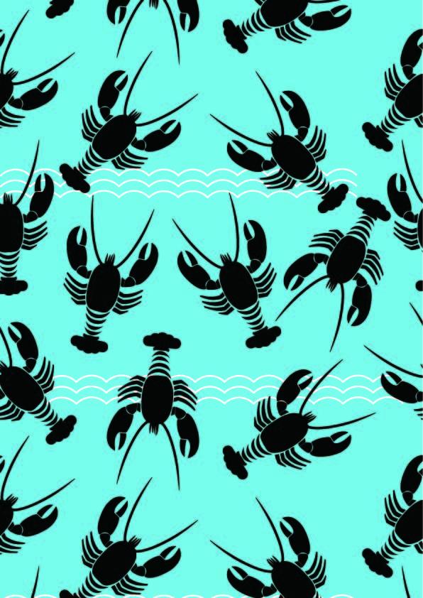 几何线条海浪龙虾印花矢量图服装纺织数码印花花型素材-POP花型网