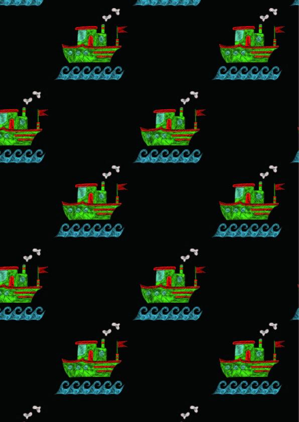 几何图案轮船拼接印花矢量图服装纺织数码印花花型素材-POP花型网