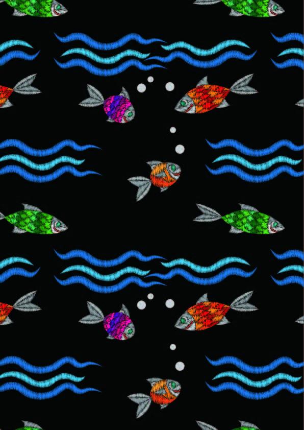 卡通鱼类几何波浪线条印花矢量图服装纺织数码印花花型素材-POP花型网