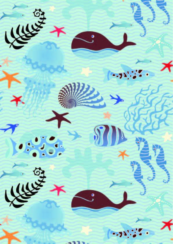 卡通动物鲸鱼海马水母几何波浪线条印花矢量图服装纺织数码印花花型素材-POP花型网