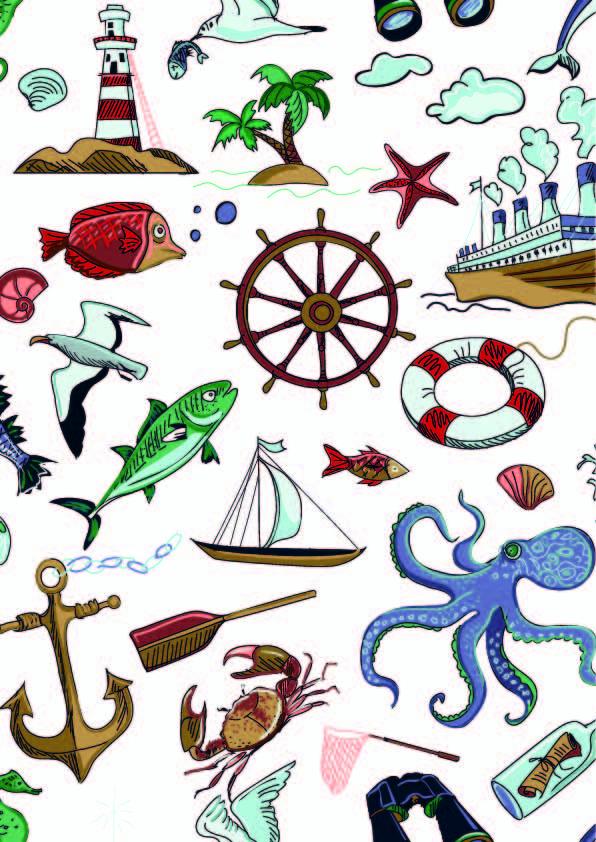 海洋风动物鱼轮船印花矢量图服装纺织数码印花花型素材-POP花型网