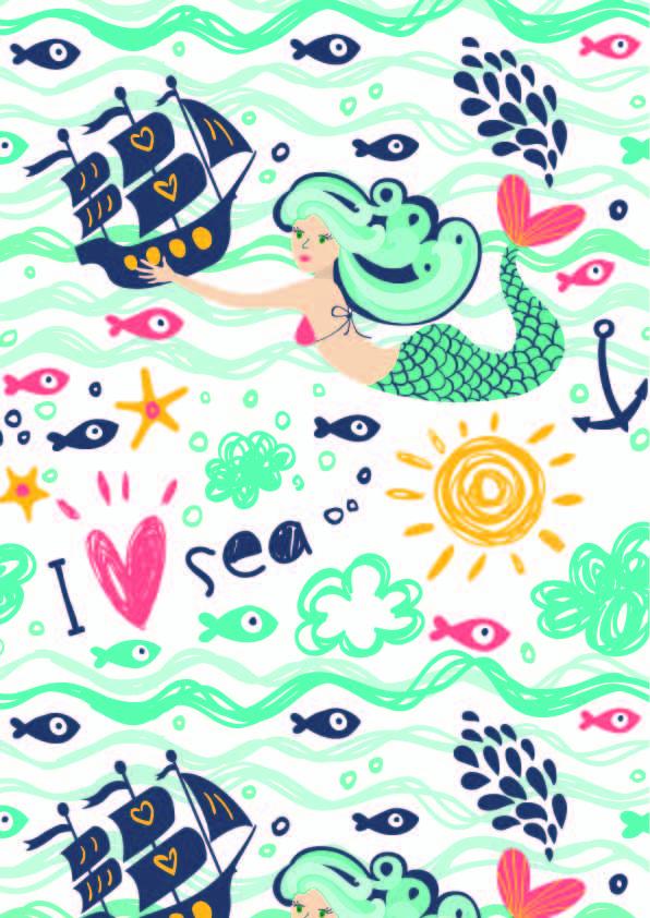 卡通图案海洋风美人鱼爱心印花矢量图服装纺织数码印花花型素材-POP花型网
