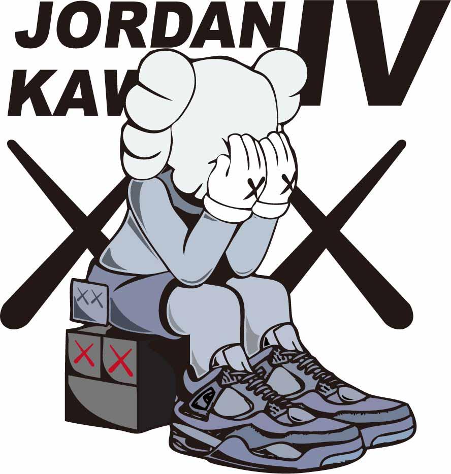潮牌KAWS图案字母印花矢量图服装裁片T恤烫图印花花型素材-POP花型网