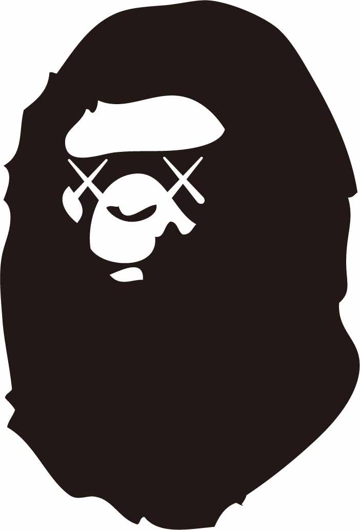 潮牌BAPE猩猩印花矢量图服装裁片T恤烫图印花花型素材-POP花型网