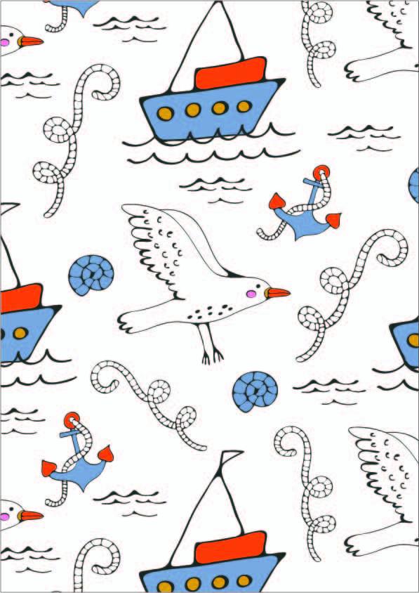 卡通帆船海鸥印花矢量图服装纺织数码印花花型素材-POP花型网