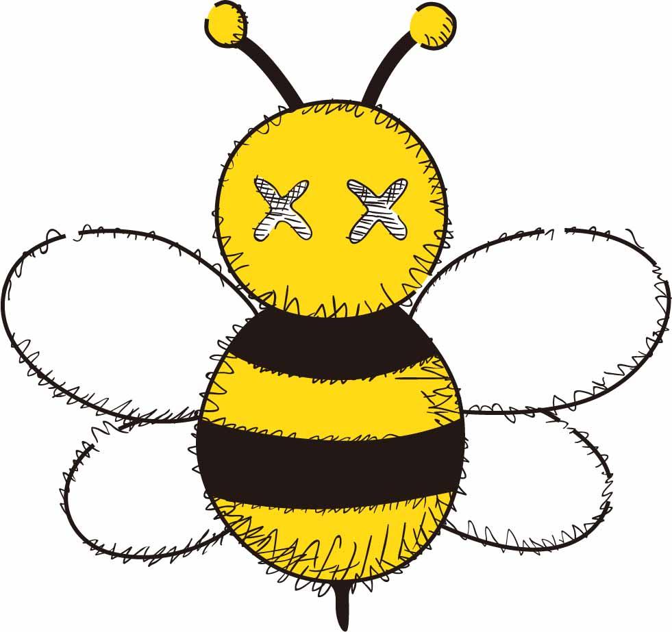 潮牌KAWS小蜜蜂图案印花矢量图服装裁片T恤烫图印花花型素材-POP花型网