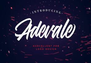 Adevale script英文字体-POP花型网