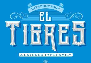 El Tigres英文字体-POP花型网