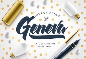 Geneva Script Font英文字体-POP花型网