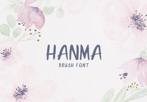 Hanma Brush Font英文字体-POP花型网