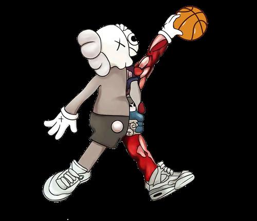 潮牌KAWS篮球图案印花图服装裁片T恤烫图印花花型素材-POP花型网