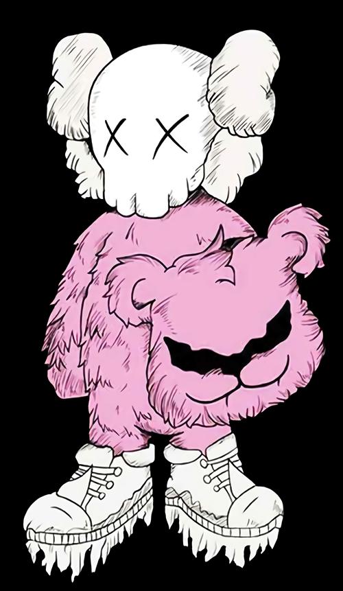 潮牌KAWS图案印花图服装裁片T恤烫图印花花型素材-POP花型网
