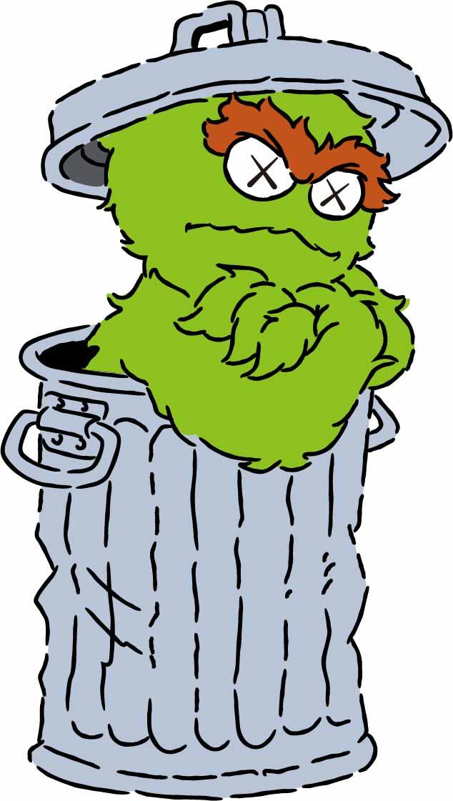 卡通动漫人物垃圾桶潮牌印花矢量图服装裁片T恤烫图印花花型素材-POP花型网
