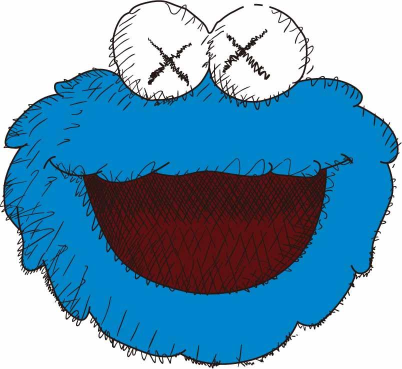 潮牌KAWS图案印花矢量图服装裁片T恤烫图印花花型素材-POP花型网