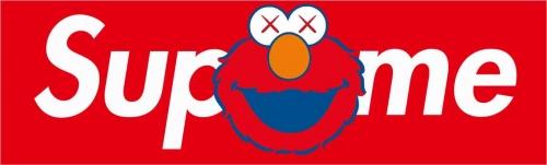 卡通动漫人物芝麻街Supreme图案潮牌印花矢量图服装裁片T恤烫图印花花型素材-POP花型网
