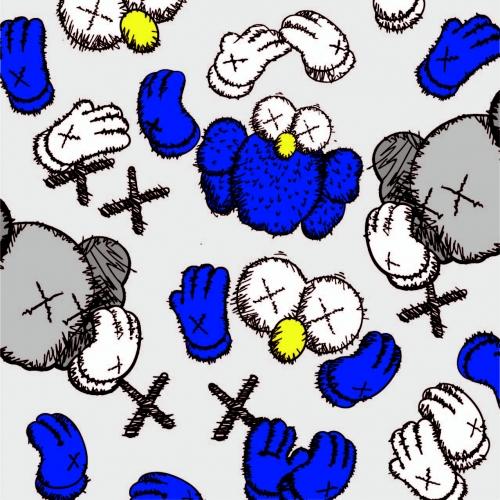 卡通潮牌KAWS图案印花矢量图服装纺织数码印花花型素材-POP花型网