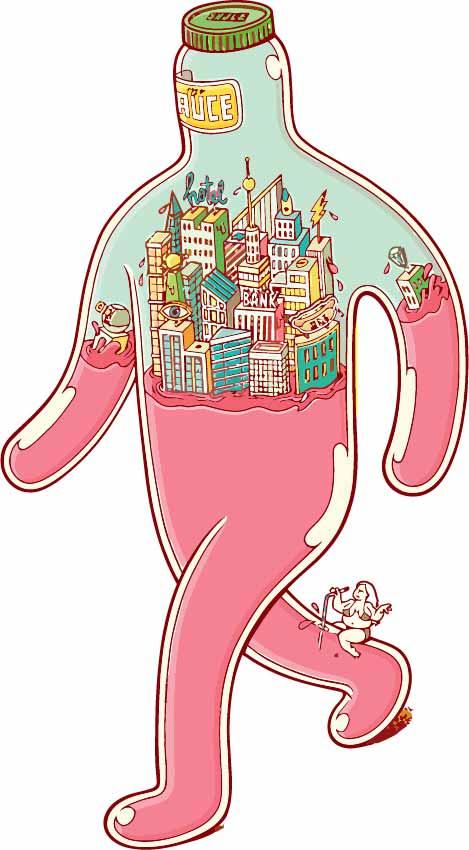 卡通抽象人物城市印花矢量图服装裁片T恤烫图印花花型素材-POP花型网