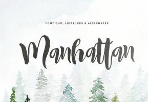 Manhattan Brush Font Duo英文字体-POP花型网