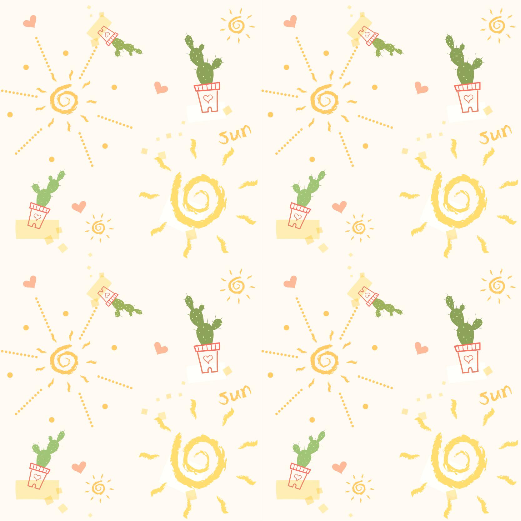 几何花纹仙人掌字母印花矢量图服装纺织数码印花花型素材-POP花型网
