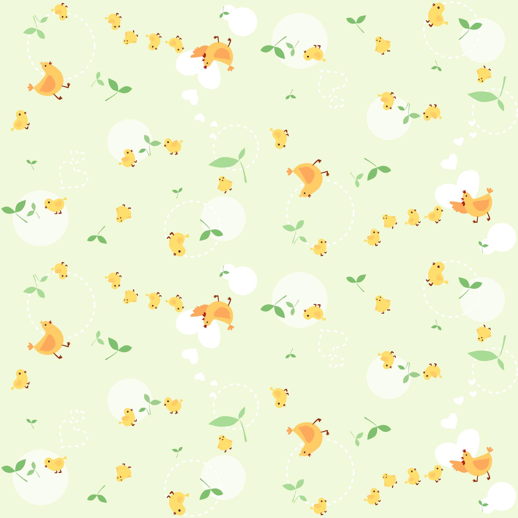 植物叶子动物小鸡印花矢量图服装纺织数码印花花型素材-POP花型网
