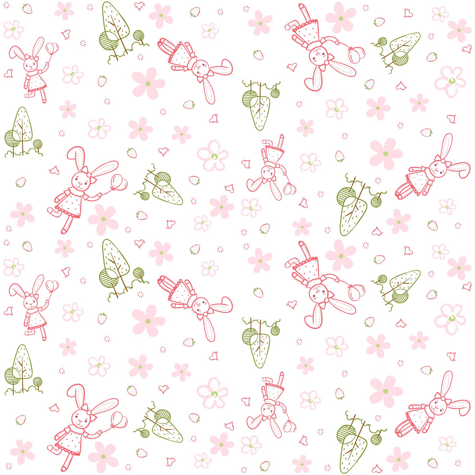 几何花纹动物小兔子印花矢量图服装纺织数码印花花型素材-POP花型网