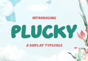 Plucky英文字体-POP花型网