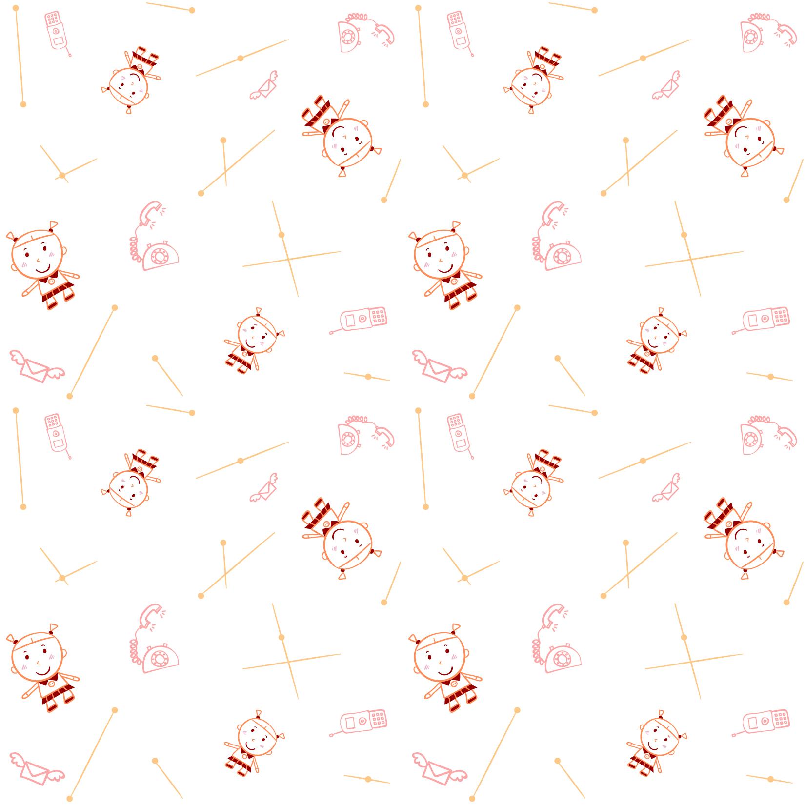 卡通人物电话图案印花矢量图服装纺织数码印花花型素材-POP花型网