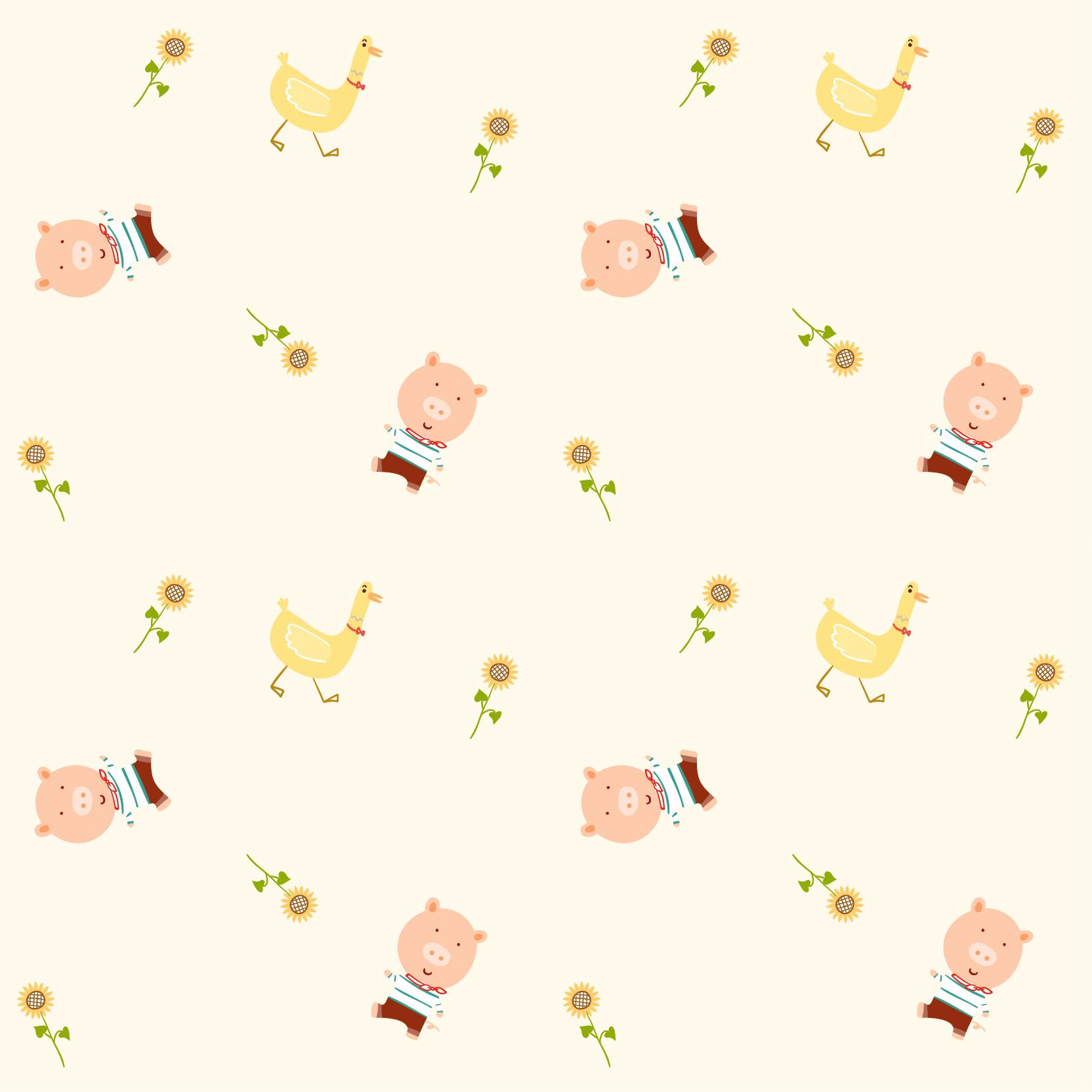 卡通动物小猪鸭子图案印花矢量图服装纺织数码印花花型素材-POP花型网
